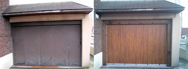 Remplacement d une porte de garage par une autre en bois - Porte coulissante garage motorisee ...
